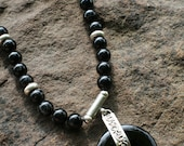 Black Onyx Necklace With Donut Focal Bead  ON SALE