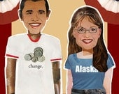 Summertime Cookout with Barack and Palin political humor dress up magnetic paper dolls