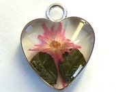 Flower Heart Resin Pendant