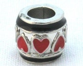 Silver Plated Red and Black Enamel Valentine Heart Charm European Style Bead - JTB1056