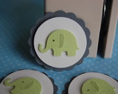 Lime Green Elephant Embellishment Cupcake Topper -- Set of 3 -- Ready to Ship