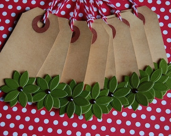 Tea Stained Poinsettia Holiday Tags--Set of 8 Tags-Paper Ornament-Favor Tag-Gift Wrap-Holiday Packaging-Vintage-Altered-Ready to Ship