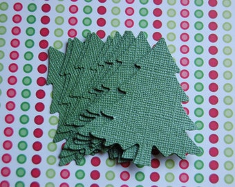 Large Christmas Pine Tree in Shimmer Green -- Set of 15 -- Punch-Earring Card - Paper Ornament - Tree Gift Tag - Place Card -- Ready to Ship