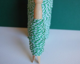 20 Yards Peapod Green Bakers Twine on a Clothespin--Favors-Tags-Crafts-Packaging-Bake-Sale-Gift Wrap-St Patricks Day-Christmas-Ready to Ship