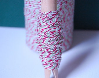 10 Yards Red, Green and White Holiday Divine Bakers Twine on a Clothespin -- Ready to Ship
