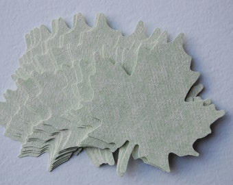 Large Leaf Punch Cut Outs in Green Parchment -- Set of 15 Leaves -- Ready to Ship