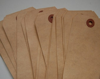 25 Extra Large Tea Stained Manilla Shipping Tags - 4 3/4 x 2 3/8 -- Wedding Seating-Favor Tag-Aged-Altered-Rustic-Vintage-Ready to Ship