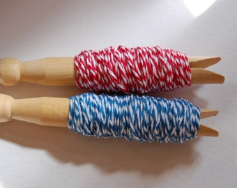 20 Yards Patriotic Twine Sampler on Clothespins--Red White and Blue Twine-Fourth of July-Crafts-Favors-Card Making-Favors-Tags-Ready to Ship