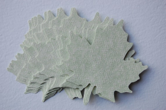 Large Leaf Cut Outs in Green Parchment