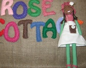 Caribbean Daisy Doll - Sunday Best - 12 ins. Tall - Button Jointed w/Hat and Bag - Purple/Green