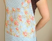 SALE Handy Gal Full Apron with adjustable ties,  Moda blue polka dot and rose fabric
