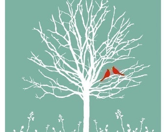 Cardinals 8x10 Print, Birds Art Print, Birds Wall Art, 8x10 Print, Cardinals Art, Tree Art Print, Teal Art Print