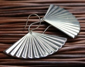 Art Deco Silver Fan Earrings