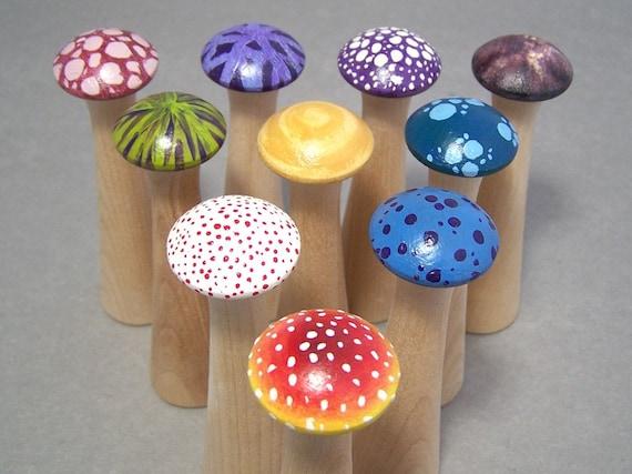 Mushroom Bowling - Wonderland - Wood Toy Bowling Game