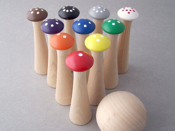 Mushroom Bowling - Counting and Colors Wooden Bowling Game