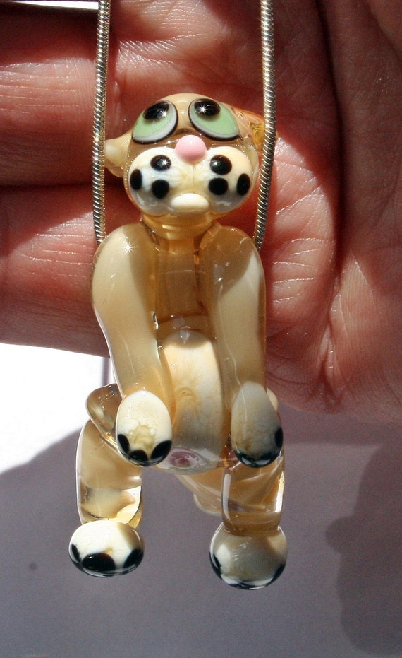 Lampwork Hanging Cat Focal Glass Bead by Izzybeads SRA