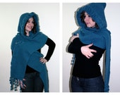 Winter Accessories Knit - Hood - Scarf -  Shawl in Teal - OOAK -