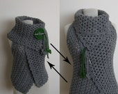 Hand crochet Down Up Vest in Grey Two Ways To Wear It - halloween fall fashion knitting sweater cowl sapphire virgo libra thanksgiving