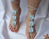 Barefoot sandals or Fingerless gloves-hand foot jewelry eco friendly spring fashion  wedding flower easter mothersday gifts baby blue sale