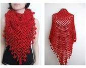 Red triangle shawl / wrap / shrug / stole / neckwarmer / scarf / wedding bridal bridesmaid