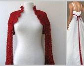 Crochet shrug bolero-dark red-weddings bridal bridesmaid bride fashion party spring summer autumn fall-ready to ship