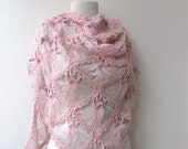 Hand crochet triangle lace shawl wrap in PINK Holiday Valentine Wedding Bride Bridesmaid - ready to ship