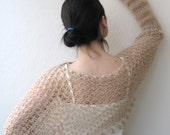 Butterfly Shrug Poncho with long sleeves hand crochet angora yarn beige / with two butterfly brooch 3-D-Fall Fashion