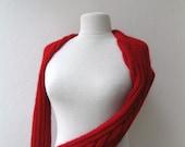 Knit cable shrug bolero-long sleeves-red- mohair yarn ready to ship Fall Fashion Bridal Wedding Bridesmaid
