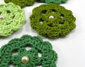 Crochet Applique Flowers in Green Shades Set 1\/1 ...OOAK...