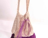 Bag in cream and purple  ...OOAK...