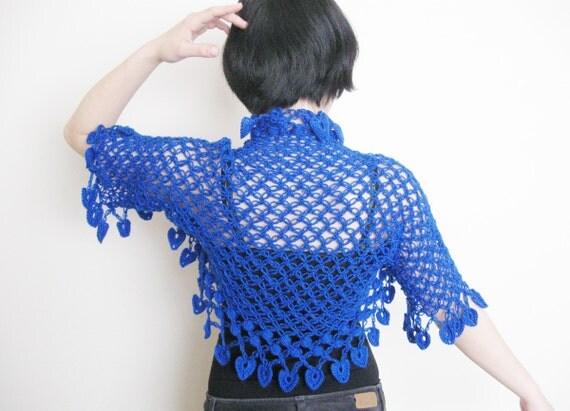 Crochet Flower Shrug Pattern : Items similar to Crochet shrug in royal blue with flower ...
