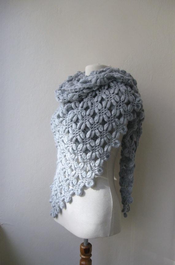 Hand crochet triangle bubble shawl mohair yarn light grey gray Holidays Christmas Wedding Bridal