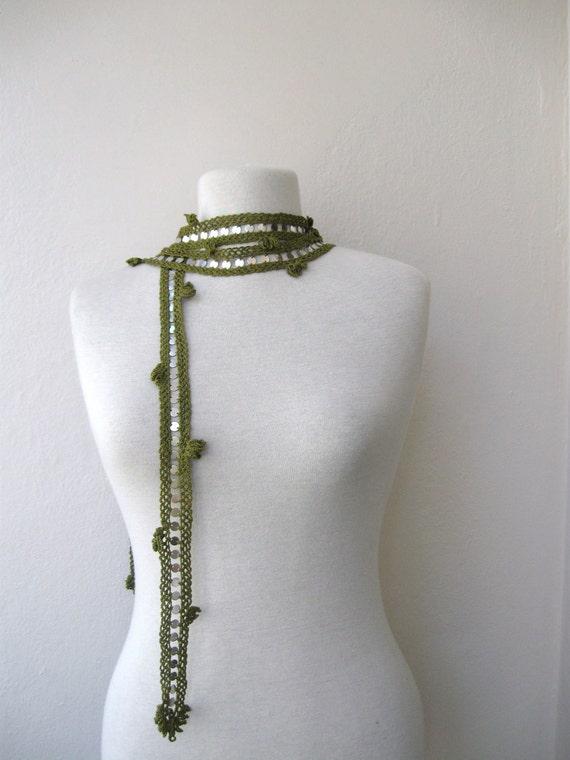 GREEN... Crochet Necklace / Scarflette / Cuff