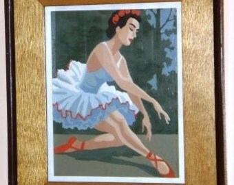 SALE 15 Percent Off ... Retro PAINT by Number BALLERINA ... vintage wall art