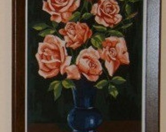 SALE 15 Percent Off ... 2 Retro PAINT by Numbers large ROSES set of two ... vintage wall art