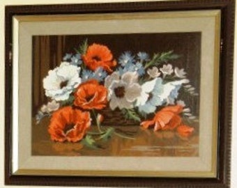 SALE 15 Percent Off ... 2 Retro Paint by NUMBERS FLOWERING set of two paintings ... vintage wall art