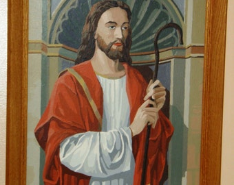 SALE 15 Percent Off ... Retro Paint by Number JESUS the SHEPHERD ... vintage wall art