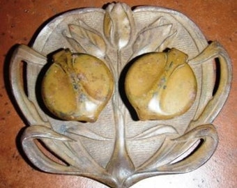 vintage inkwell ... antique Art nouveau LILY PAD dual INKWELL ...
