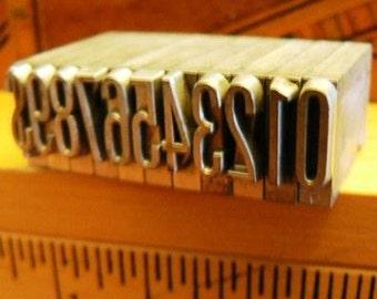 vintage letterpress ... PRINTERS TYPEFACE NUMERIC 0 to 9 plus 1 Grp N 11 pce
