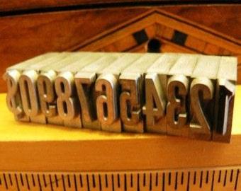 vintage letterpress ... PRINTERS TYPEFACE NUMERIC 0 to 9 plus 1 Grp 0 11 pce