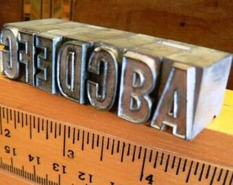 vintage letterpress ... Large PRINTERS TYPEFACE ALPHA A to G Grp Y 7 pce