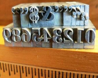 vintage letterpress ... PRINTERS TYPEFACE  misc FUN Grp A1 19 pce