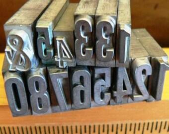 vintage letterpress ... PRINTERS TYPEFACE  misc numeric FUN Grp A3 14 pce