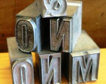 vintage letterpress ... Large PRINTERS TYPEFACE ALPHA misc plus Grp A5 6 pce