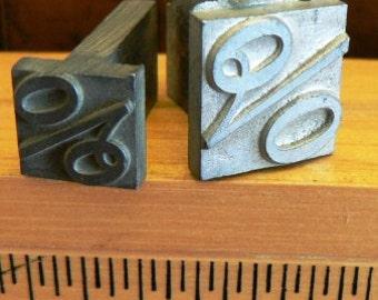 vintage letterpress ... Large PRINTERS TYPEFACE two PERCENTAGE Grp A7 2 pce