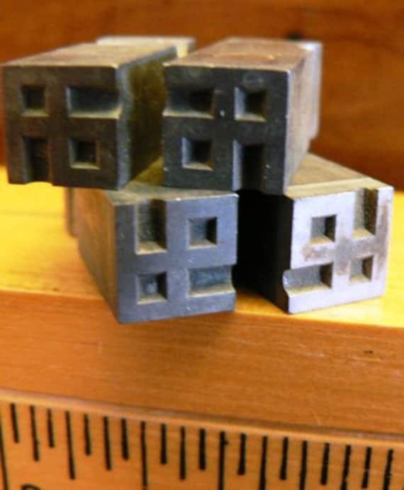 vintage letterpress ... PRINTERS TYPEFACE Small decorative DECO Corners Grp A 24 4 pce