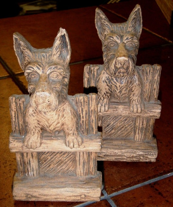 vintage office funk ... SCOTTY DOG BOOK ENDS ...