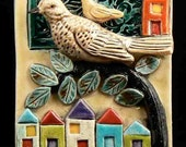 Ceramic Tile, Birds with Houses        Made to Order, Limited edition of 10