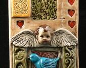 Ceramic Tile, Cherub and Bird