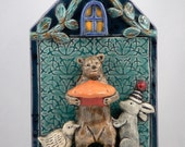 Ceramic Tile, Bear with Pie and Bird and Rabbit